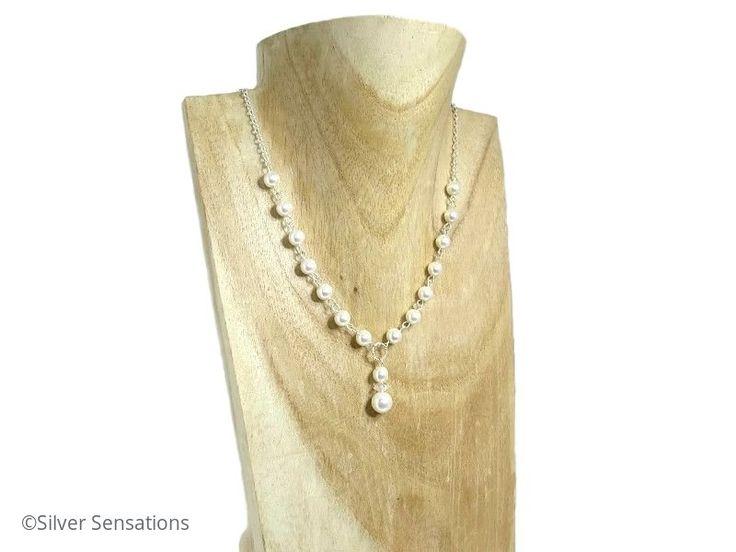 Elegant Swarovski Pearls & Sterling Silver Drop Necklace  @ProCrafterGuild #craftbiz #handmadehour #bridal #weddinghour https://www.silver-sensations.co.uk/sara---white-swarovski-pearls--sterling-silver-chain-drop-wedding-necklace-2725-p.asp