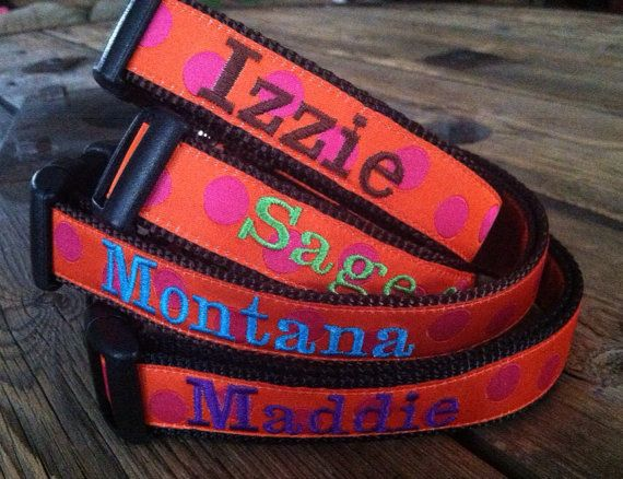 "Med or Lg Dog Collar Any Pattern, Name Color, and 1"" Width Size. Dog Gone It. Embroidered Dog Collar. on Etsy, $24.99"