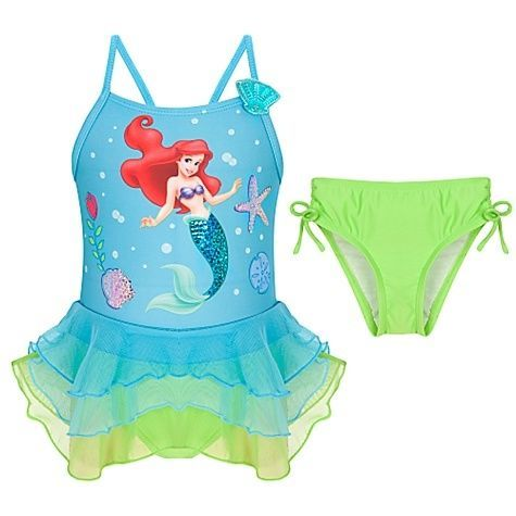 Girls NWT Disney Store Princess Ariel Swimsuit Little Mermaid 2pc UPF 50