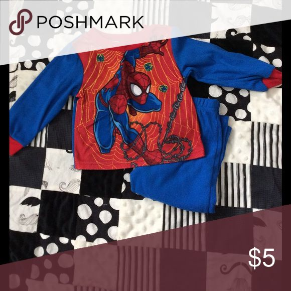 Boys Spider Man Pjs Cute fleece Spider Man Pjs. Long sleeve and long pants. Used. Pilling Spiderman Pajamas Pajama Sets