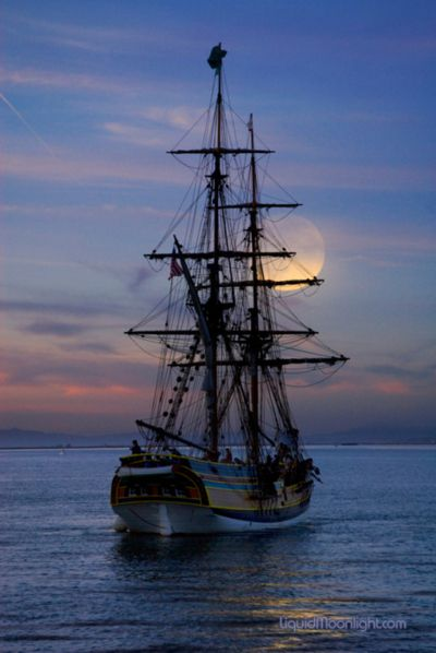 """moonset ... the ship reminds me of the Jean Lafitte """"Pirates of the Caribbean"""" dinner cruise we took in Cozumel, Mexico.  So much fun, though we all staggered off the pier when it was over.  The rum punch was sooo good!"""