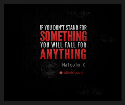 """If you don't stand for something, you wil fall for anything""  ~ Malcolm X ~"