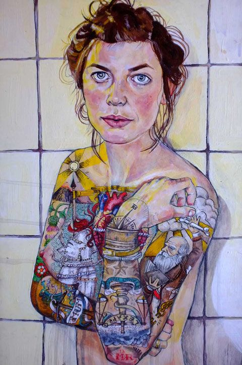 Monique Revell.Ever wanted to know a little bit more about the person in the painting? New Zealand illustrator Monique Revell creates portraits that explore the outside and inside (metaphorically!) of her subjects through intricate drawings laced across their skin.