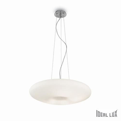 Ideal Lux 019734 Glory SP3 Satin Nickel & White Blown Acid Etched Glass Shade 3 Lamp Single Pendant Ceiling Light 480mm (Ideal Lux Lighting 019734) - discounthomelighting