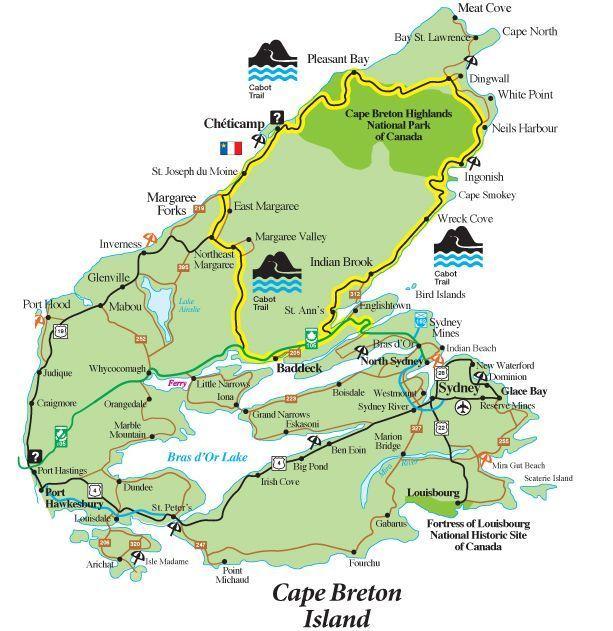 Cabot Trail Map - Map of the Cabot Trail in Cape Breton, Nova Scotia