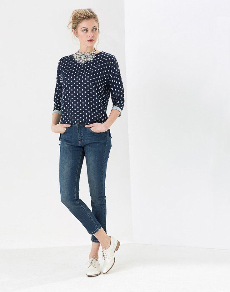 Sweat bleu à pois à manches 3/4 Eloise T-Shirts 1-2-3.fr