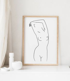 Nude Line Drawing Print, Nudeart, Line Art Woman, Female Frontal Nudity, Minimalist Art, Single Line Art, Black and White Poster, Nordic Art – Elyse D. S.