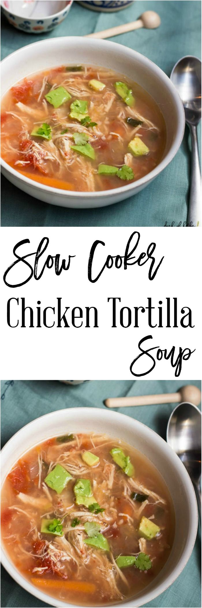 Slow Cooker Chicken Tortilla Soup - An easy lunch or dinner recipe for your family to enjoy.  It's only 2 SmartPoints per serving on Weight Watchers and is a healthy soup that fills you up.  The flavors of this soup are wonderful together and pack a punch in your mouth. http://dashofherbs.com/slow-cooker-chicken-tortilla-soup/