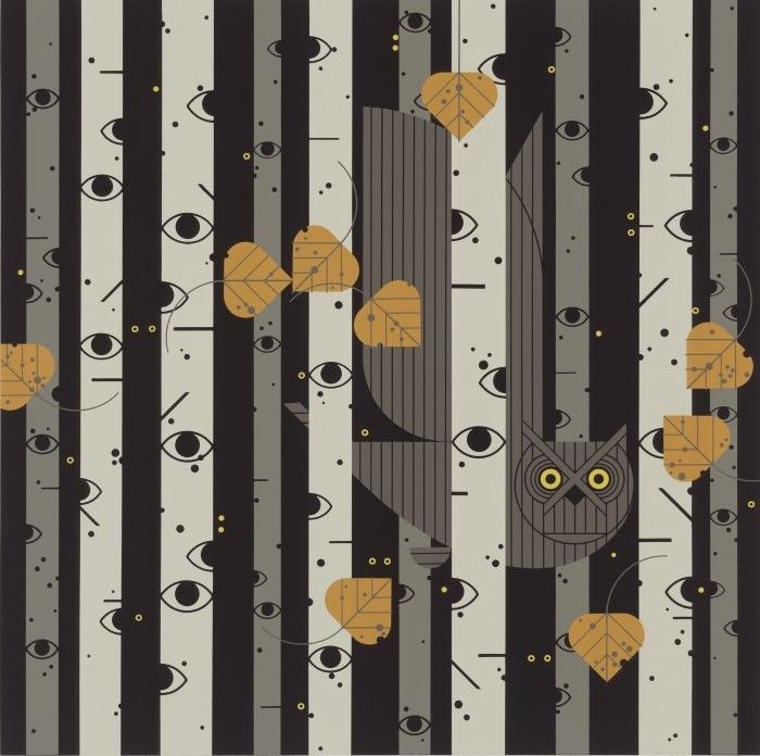 Charley Harper, United States 1922-2007, Bark Eyes, Serigraph, 1986, Image size: 18 x 18 in