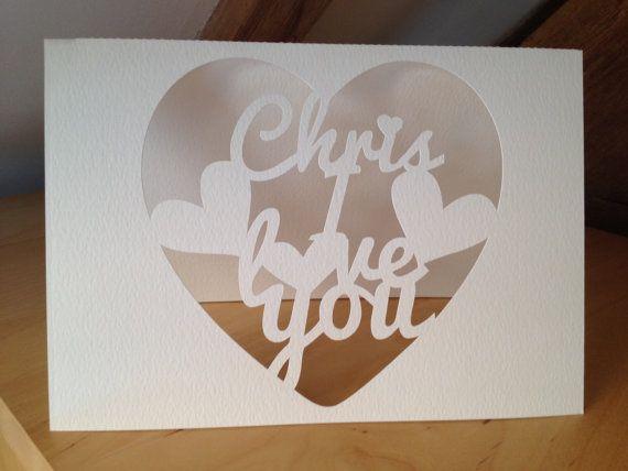 Papercut Custom Valentine's Greetings card  24 hr by weheartcards