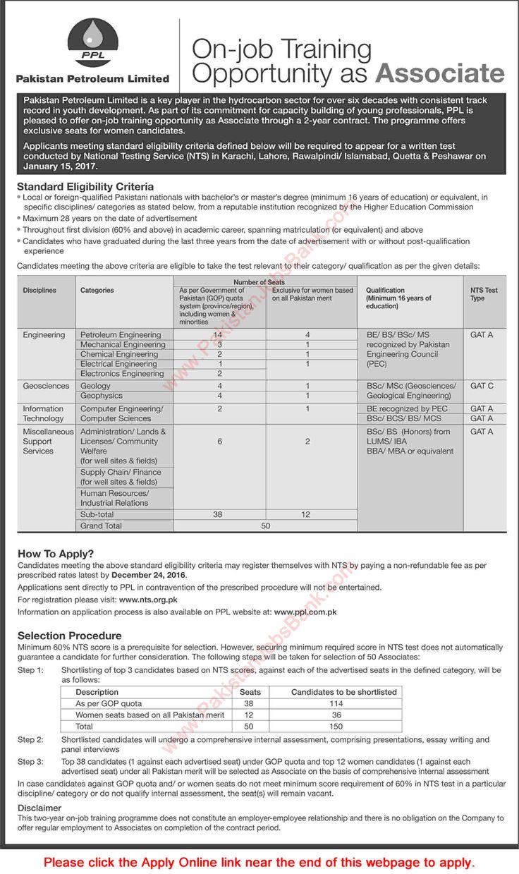 Pakistan Petroleum Limited Jobs December 2016 PPL Associate NTS Online Registration Form Latest