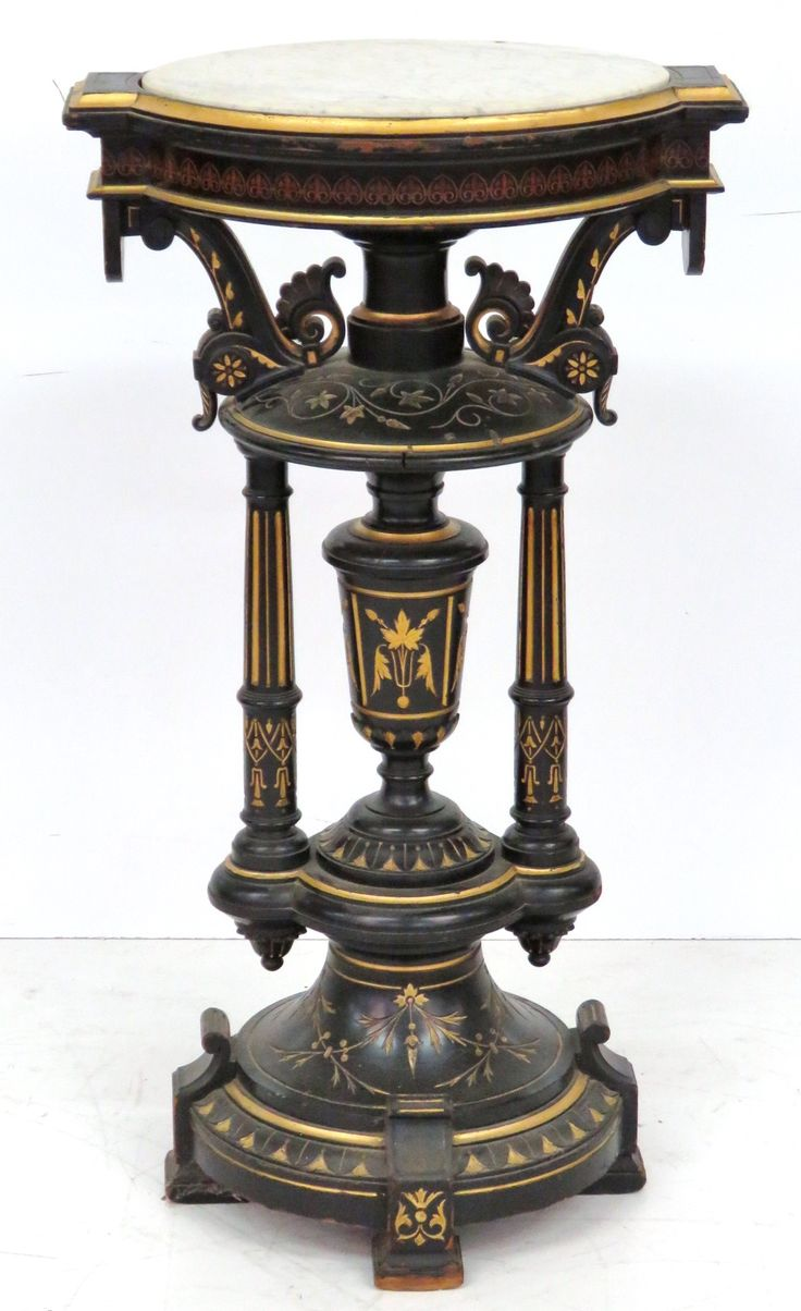 Victorian carved rosewood center table w marble turtle top cottone - Victorian Marbletop Pedestal Att Herter Brothers S S Auction