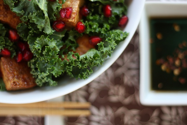 for Dinner: Raw Kale, Pomegranate Seed and Tofu Salad with Toasted ...