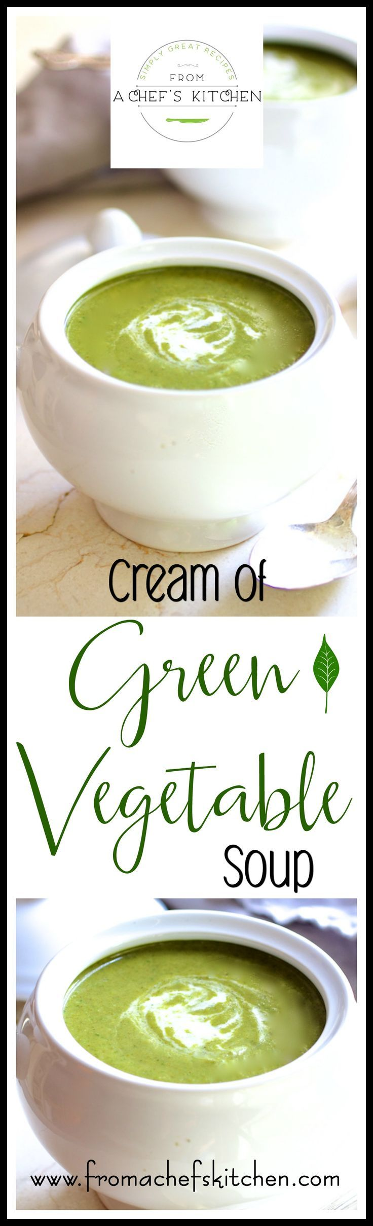 Not your momma's cream soup!  Cream of Green Vegetable Soup with kale, Brussels sprouts, broccoli and spinach is superfood healthful with just a touch of cream!