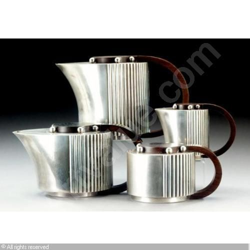 MAISON PUIFORCAT (France) - Art Deco four piece coffee and tea set