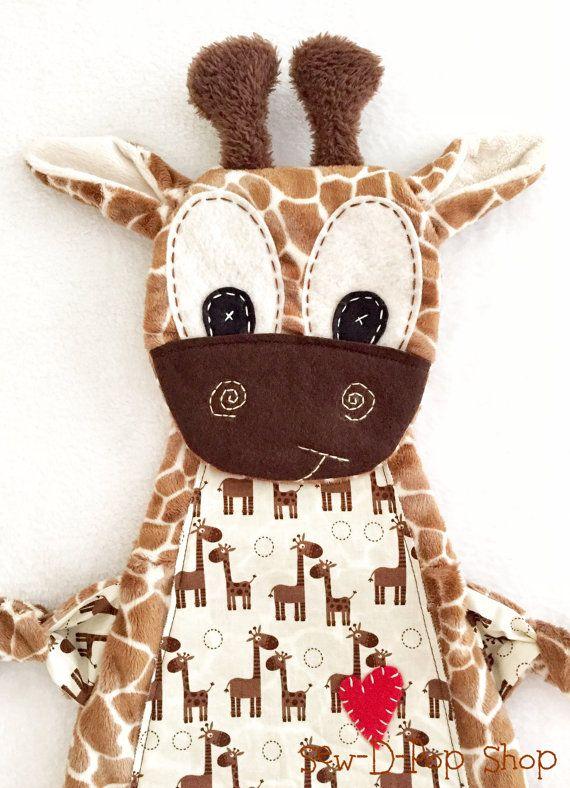 Baby Lovey Blanket Giraffe Binkie Lovey Toy Friend by SewDPopShop