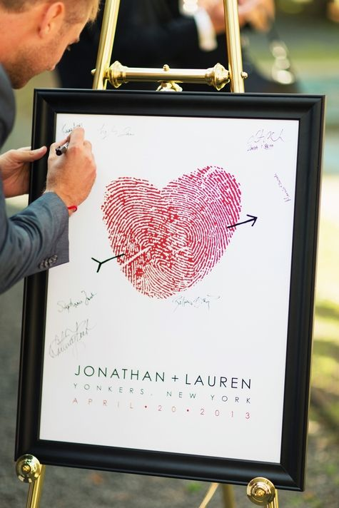 Custom guest book poster made of bride  groom's thumbprints // FlutterBye Prints //  Photographer: Jonathan Young Weddings // http:// www.theknot.com/submit-your-wedding/photo/7440c38c-da8f-4aaa-9d07-673fe80a7770/LandJ-Hudson-Valley-Wedding