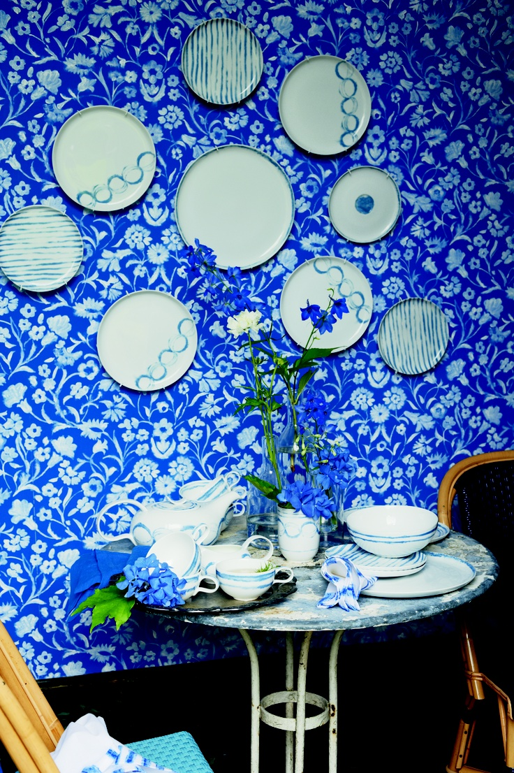 Watercolour and cobalt come together beautifully with Yukata Wallpaper and Jinshi ceramics