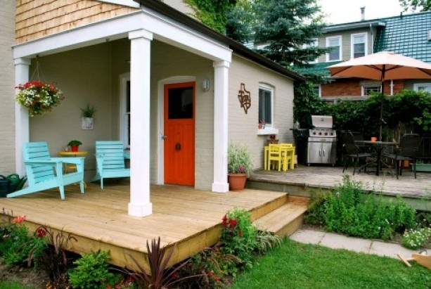 I like the idea of building out a patio into a nice deck