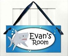 shark decor for boys room | ... ocean sea creatures themed kids door signs room nursery decor shark