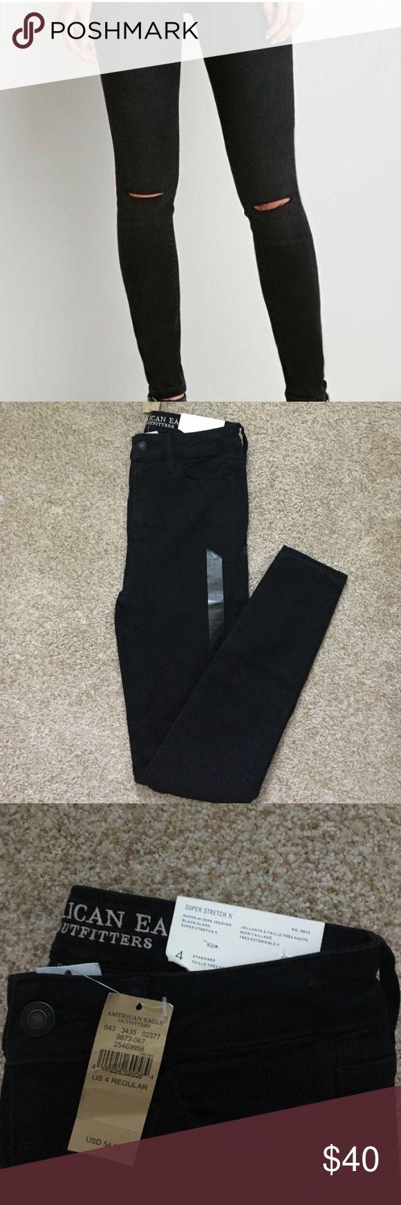 NWT AEO Super High Rise Jeggings AEO's highest rise in black with slits in the knees. They are brand new, I'm only selling because I went back and re bought them with a coupon! They're a comfortable and easy to move in super stretch material! American Eagle Outfitters Jeans Skinny