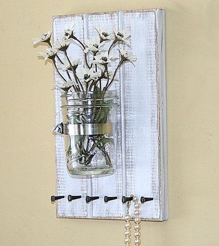 Jewelry Organizer Storage 3 Wood Plank Mason Jar by GardenCricket, $28.00