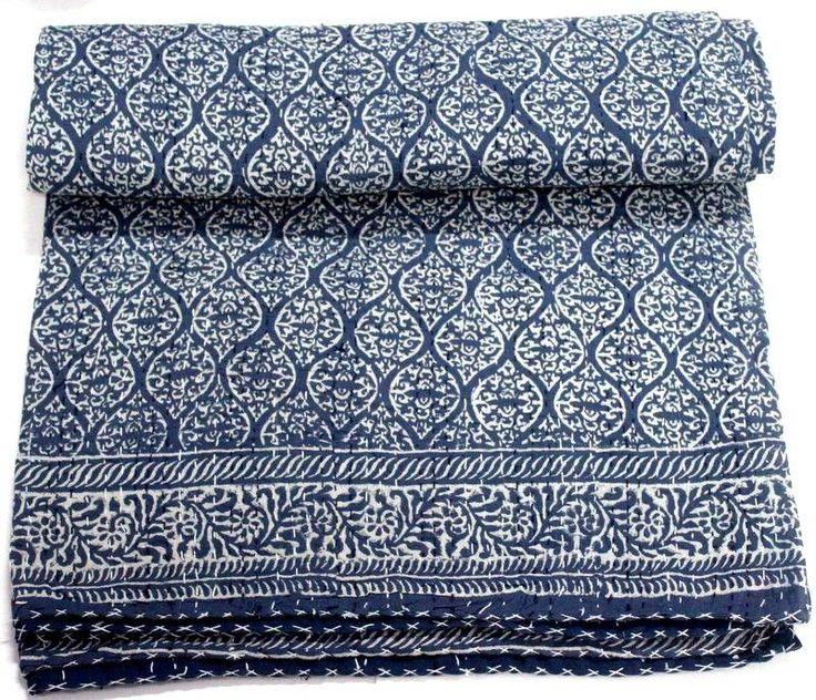 Indian Cotton Kantha Bed Cover Bedspread Hand Block Anokhi Print Quilt Throw #KhushiHandicraft #ArtDecoStyle