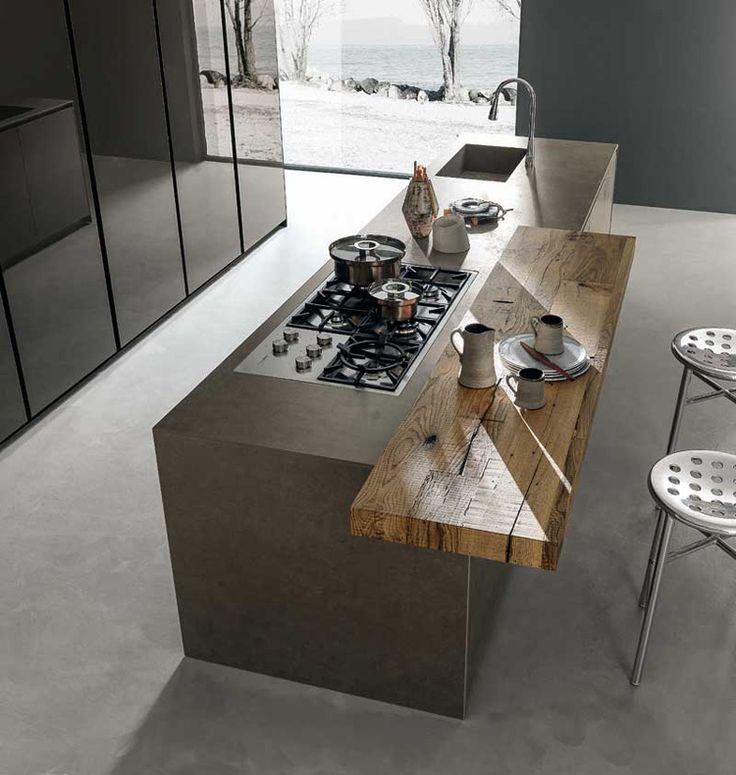 Keuken met beton en hout