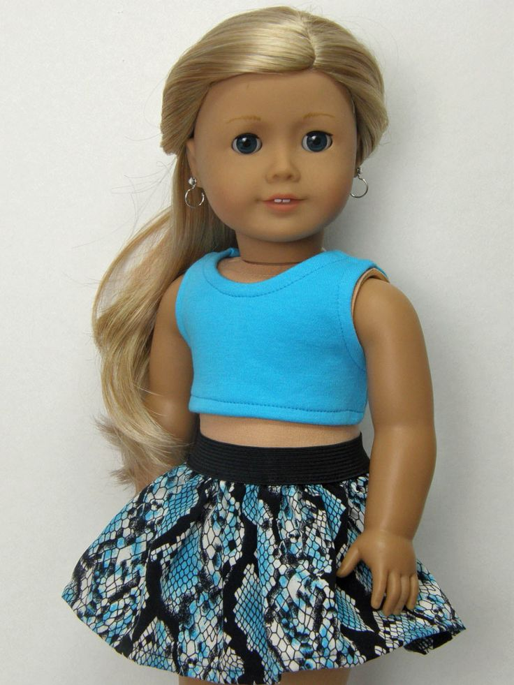American Girl doll clothes, 18 inch doll clothes, American Girl clothes, turquoise crop top, and gathered skirt by Unendingtreasures on Etsy