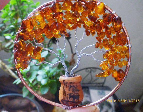 Amber Tree of Life in Mini Pot Moose Lodge by LazyLizardBeadwork
