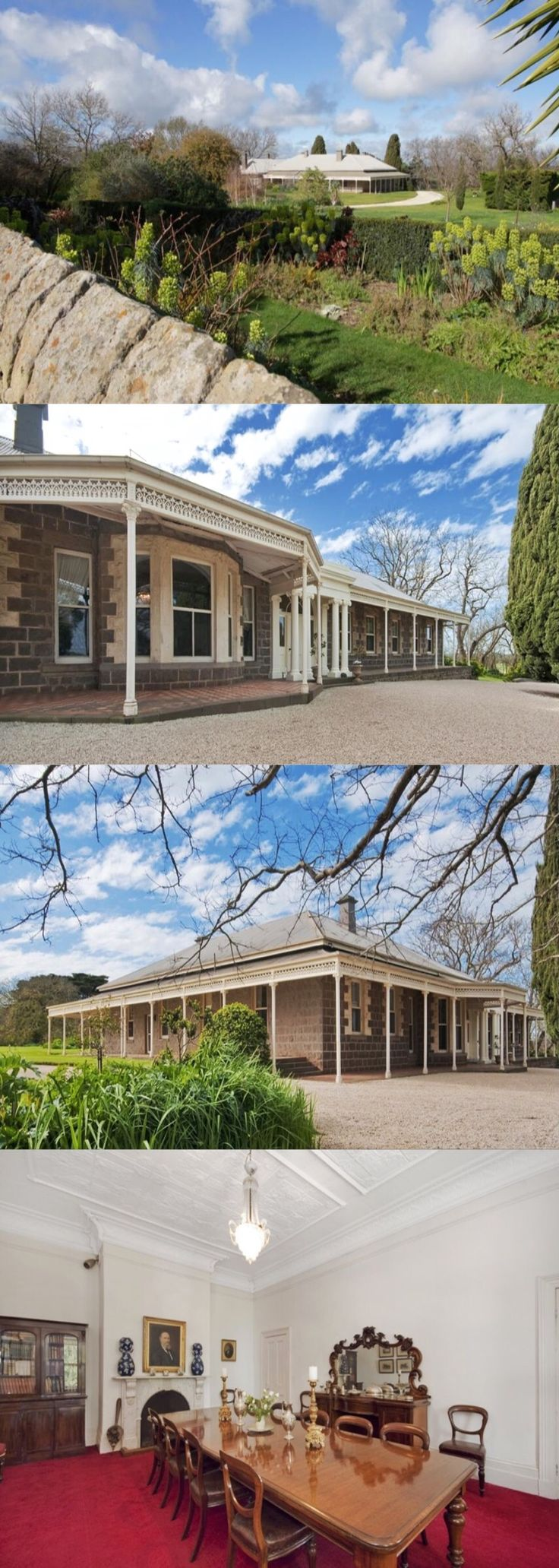 Merrang, Hexham (237kms W of Melbourne), was purchased 1856 by Scot settler Robert Hood. In 1859 he built a 4-room stone cottage, then in 1865 a substantial Italianate extension with impressive Ionic entrance portico. In 1875 the two sections were unified by a cast iron verandah designed by Andrew Kerr who also designed the gate lodge and outbuildings. Merrang remained in Hood family ownership for 156 years and four generations before it was sold to the neighbours in 2012.