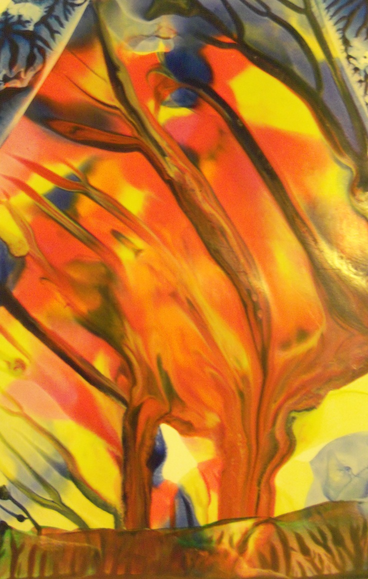 """4""""x6"""" encaustic painting  woods on fire"""