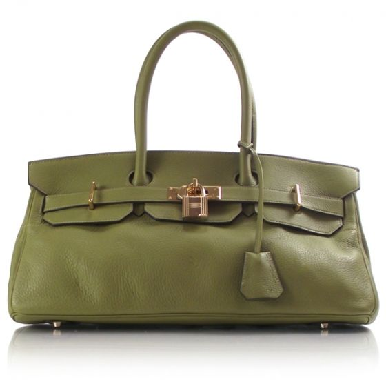 Hermes Jean Paul Gaultier JPG Birkin bag in olive Taurillon Clemence leather.
