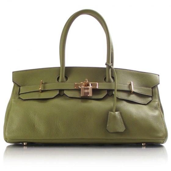 Hermes Jean Paul Gaultier JPG Birkin bag in olive Taurillon Clemence leather.