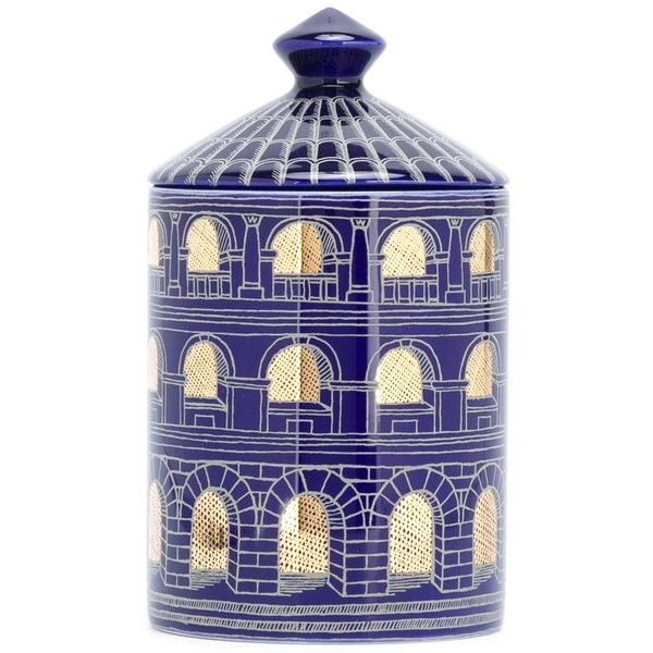 Fornasetti scented candle ($154) ❤ liked on Polyvore featuring home, home decor, candles & candleholders, blue, blue candle, colored candles, scented candles, blue home decor and fragrance candles