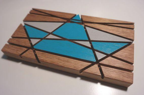 Kartenständer Briefhalter aus Eichenholz, mit Faltboot Papierboot Origami Boot