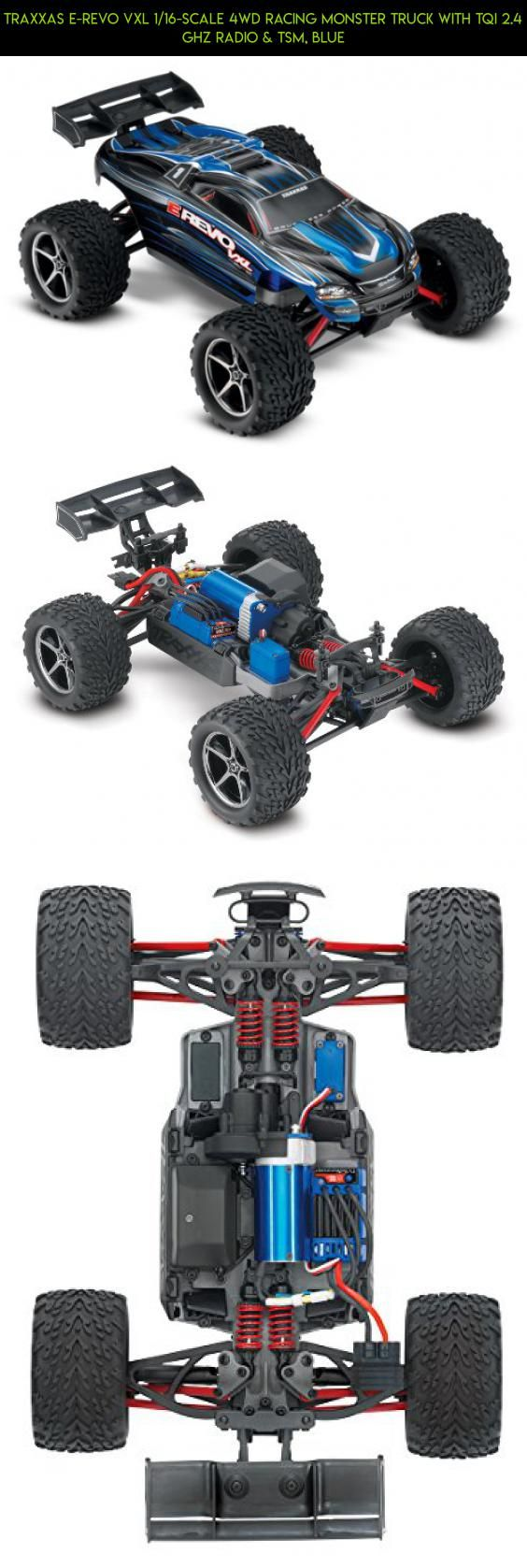 Traxxas E-Revo VXL 1/16-Scale 4WD Racing Monster Truck with TQi 2.4 GHz Radio & TSM, Blue #parts #shopping #plans #drone #traxxas #fpv #revo #products #gadgets #mini #tech #camera #technology #e #racing #kit
