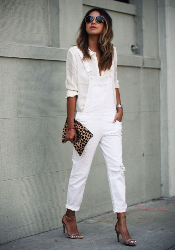All White with Paige Denim! Overalls: http://rstyle.me/~2s3p5 Blouse: http://rstyle.me/~2s3px Clutch: http://rstyle.me/~2s3pN
