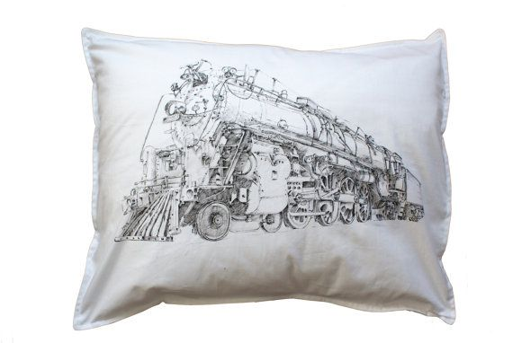 Locomotive Pillow cover  Steam engine art Hand by KropkaDesign