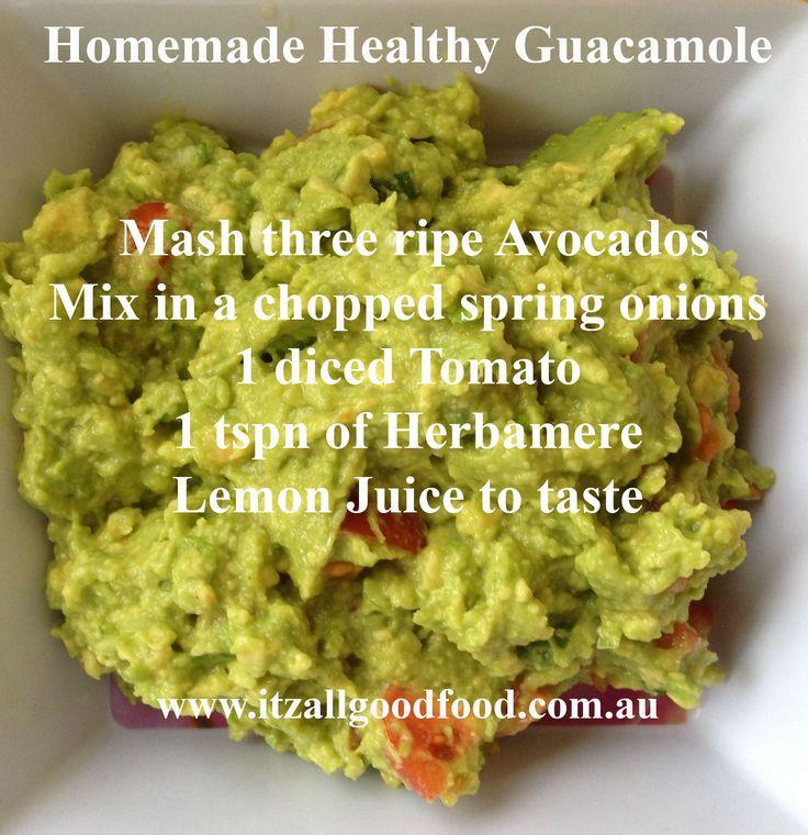 Healthy Homemade Guacamole #healthy #natural #guacamole #raw #avocado #snack #dips
