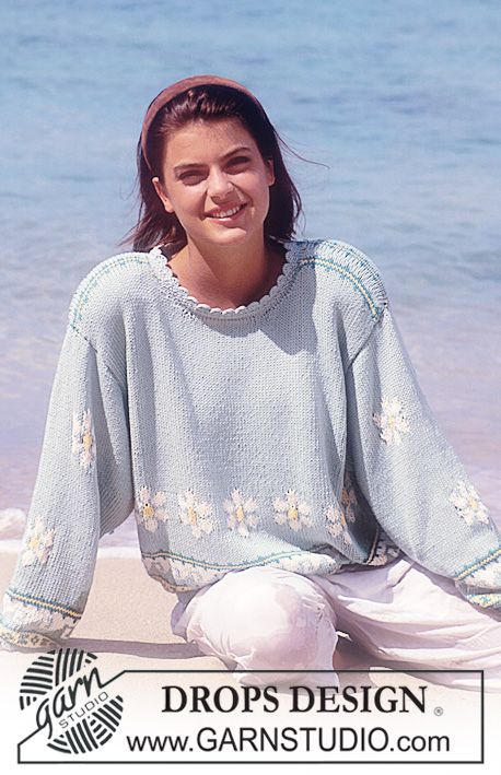 "DROPS 29-14 - DROPS jumper with flower borders in ""Muskat Soft"". - Free pattern by DROPS Design"