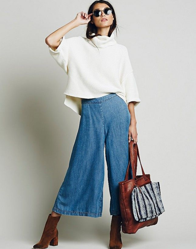 Style these chambray gaucho pants with an oversized sweater + suede ankle boots.
