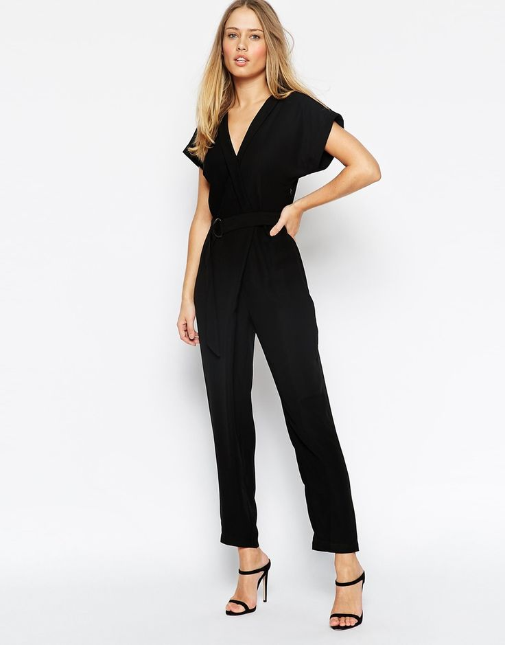 Image 4 of ASOS PETITE Jumpsuit With Wrap Collar And D Ring Belt