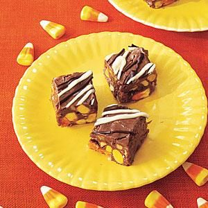 Candy Corn Fudge | MyRecipes  Candy corn finds a new home with this melt-in-your-mouth fudge recipe. An optional drizzle of white and semisweet chocolate adds an easy...