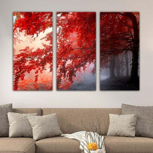 Τρίπτυχος πίνακας σε καμβά Red Forest