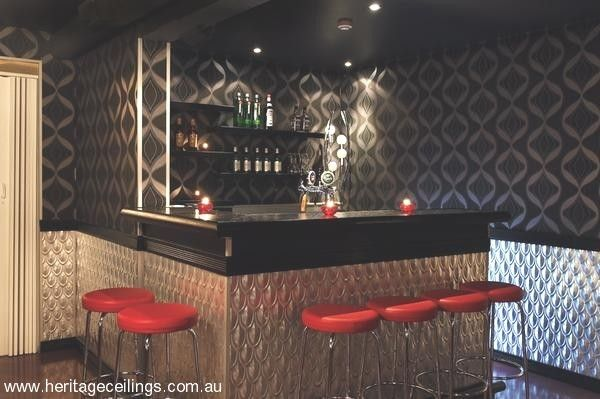 Here the pressed tin Fishscale panel is being used in a nightclub in Iceland as wall cladding.