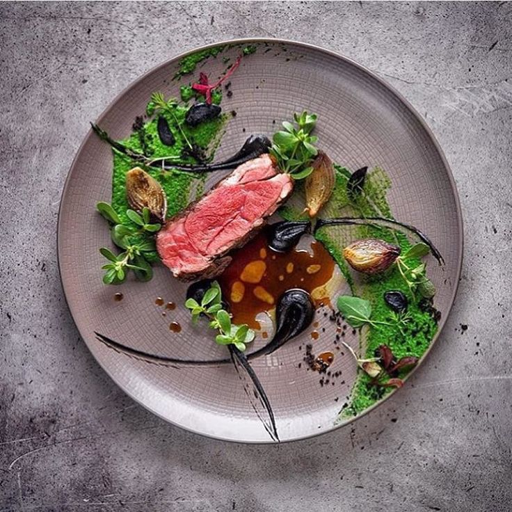 Lamb ramp with ramson black garlic & pickled onion. By - @vladelo / By @andreykulpin #ChefsOfInstagram plating