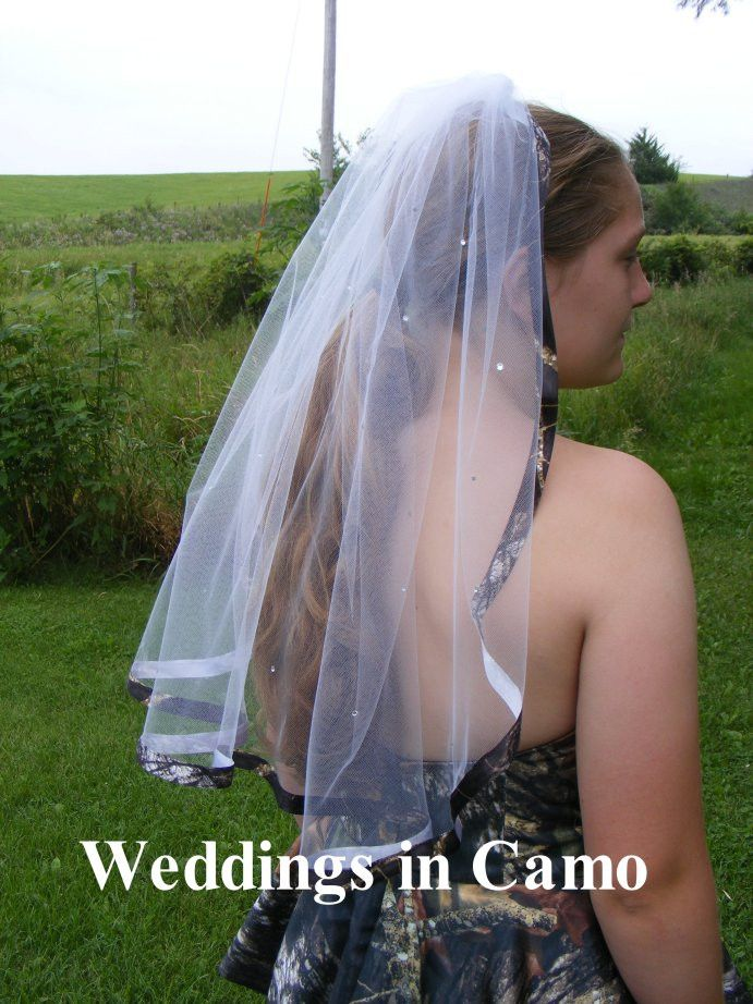 Weddings In Camo Veil With Crystals Scattered Over A Single Layer CAMO Ribbon Trim