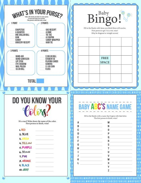 blue baby shower games  diaper raffle  8 games   answer