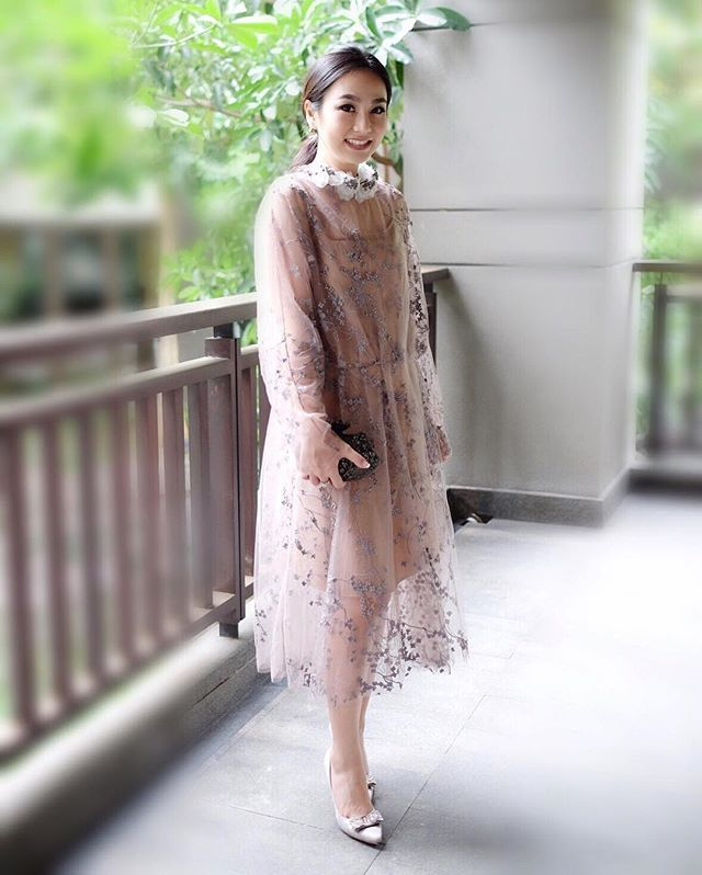 #SaptodjojokartikoExperience - @amegonta is a vision to behold in this Saptodjojokartiko sheer embroidered tulle dress at an recent event #saptodjojokartiko #maisonsaptodjojokartiko #embroidery